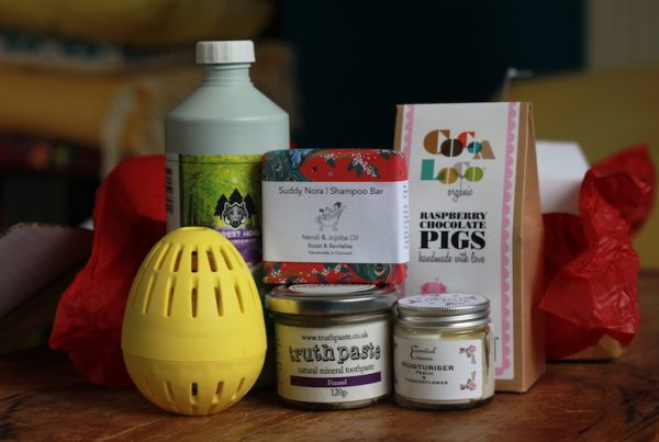 A hamper of sustainable home and body products