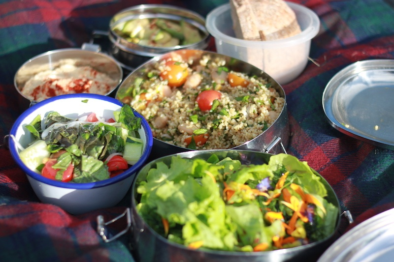 A picnic of salad dishes