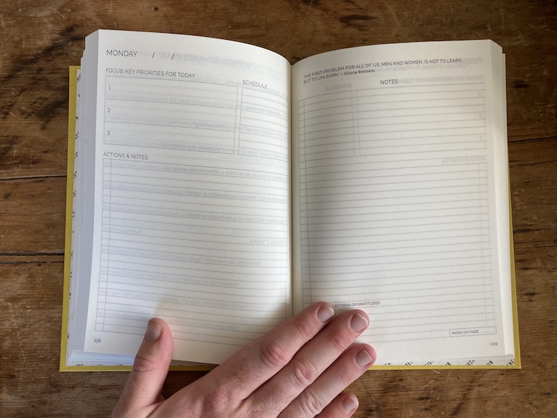 A diary page layout