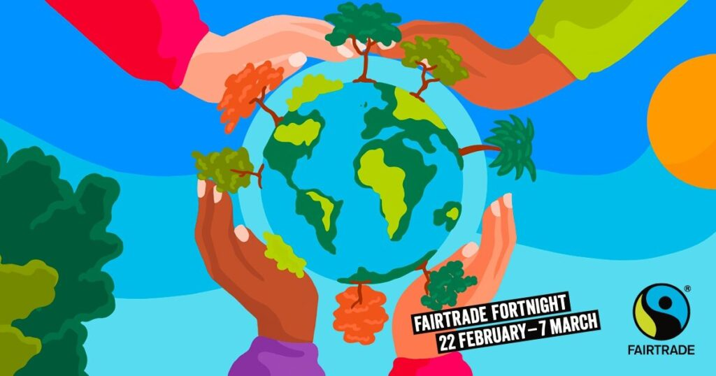 Fairtrade fortnight poster of hands cradling planet earth